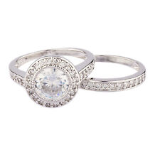 NEW 925 STERLING SILVER HALO DOUBLE BAND ROUND CUT CZ RING