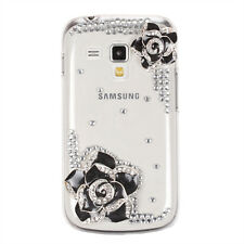 Bling Rhinestones 3D Flowers Back Case Cover for Samsung Galaxy S Duos S7562