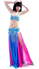 Belly Dance Costume Outfit Set Bra Top Belt Hip Scarf Bollywood Carnival 2 PCS