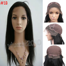 100% India Remy Human Hair Lace FRONT WIG YAKI Straight #1B Natural Black
