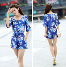 Fashion Retro Floral Womens High-waist Jumpsuits Rompers Short Pants Playsuit