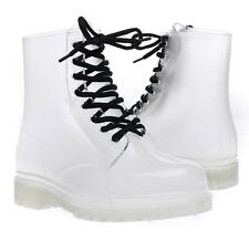 White Clear Transparent Rubber Lace Up High Top Ankle Flat Low Heel Rainboot US