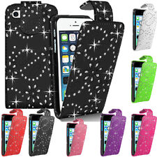 Bling Diamond GEM Glitter Leather Top Flip Wallet Case Cover For Apple iPhones