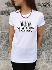 * Milan Paris New York London T-shirt Top Vogue Tumblr Style Fashion Homies *