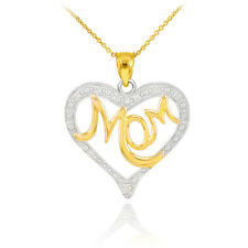 Mother's Day Gifts 14K Two-Tone Gold Diamond Studded Mom Heart Pendant Necklace