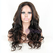 long soft 100% Indian remy human hair wig big wavy full lace wig 1b/4# highlight