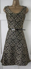 RRP£89 New Monsoon Maxine Black Gold Jacquard Skater Fit & Flare Occasion Dress