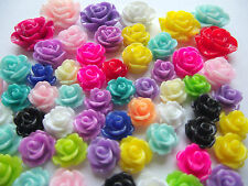 25 50 100 Mixed Assorted Colours & Sizes Flat Back Rose Flower Resin Cabochons