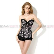New Fashion Sexy Lady Body Shaper Underbust Lace Up overlay boned Corset Bustier