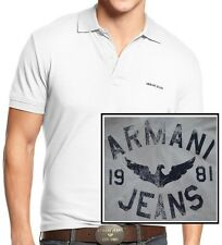 NWT Armani Jeans LOGO Solid Pique Short Sleeves Polo Shirt In White Size L