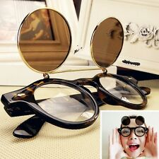 Steampunk Goth Glasses Goggles Round Flip Up Sunglasses Retro Vintage Fashion