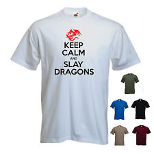 'Keep Calm and Slay Dragons' St George's Day / St. George Georges Mens Tshirt
