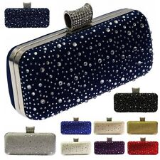 Sparkly Crystal Diamante Clutch Bag Silver Gold Navy Red Ivory Wedding Prom Uk