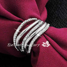 2670 18K 18CT White GOLD GF Wide Womens SILVER WRAP RING SWAROVSKI CRYSTAL NEW