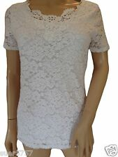 Ex Per Una M&S White Lace Top Blouse Short Sleeves Party Size 6 -  24 QUALITY