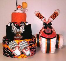 Boy Harley Davidson Diaper Cake Three tier Motorcycle Baby Shower Centerpiece