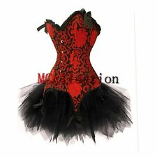 Burlesque Moulin Rouge Red Corset Basques Top & Tutu Skirt - Fancy Party Dress