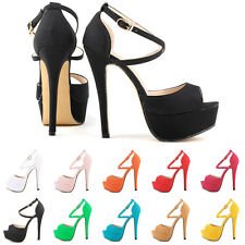 WOMENS PEEP TOE STRAPPY PLATFORM Faux Suede  HIGH HEEL SANDAL SHOES UK2-9 871-8