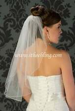 "Elbow Length Bridal Veil 1 Layer 25"" Long By Illusions Bridal Veils Pencil Edge"