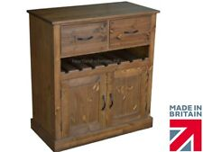 Solid Pine Sideboard, Handcrafted & Waxed Contemporary Base Unit with Wine Rack
