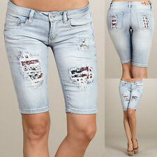 CASA BLANCA Machine Jeans Destroyed Distressed Denims Bermudas DMB-1A2167JS