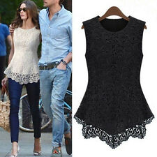New Ladies Women Lace Blouse Sleeveless shirt vest Doll Chiffon Tops S M-XXXXXL
