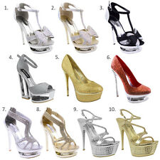 WOMENS LADIES DIAMANTE HIGH HEEL PROM SHOES BRIDAL EVENING PLATFORM SANDALS SIZE