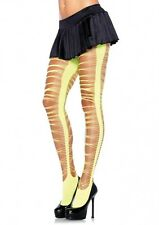 Sexy Pink Yellow Criss Cross Shredded Tights Pantyhose Women's Dance Tights NEW