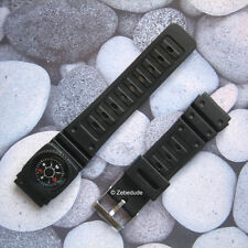 18mm 20mm Fitting Black Casio Type Divers Rubber Resin Compass Watch Strap Band