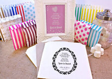 Personalised Sweet Bags LOVE IS SWEET DAMASK Candy Cart Wedding Favours Confetti