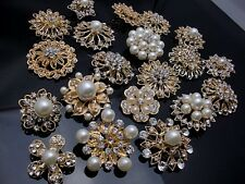 5-100 Gold Pearl Crystal Brooch Button DIY Bridal Wedding Bouquet Wholesale Lot