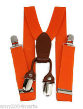 """Boys Orange 1"""" Wide Suspenders Ages 2 - 5 Years - 2T 3T 4T 5T"""