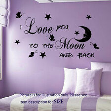 I Love You To The Moon And Back Butterfly Wall Stickers Decals Art Nursery Decor