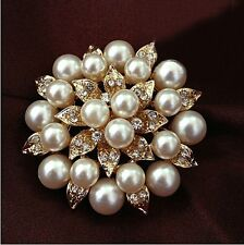 "Big 2"" Faux Pearl Rhinestone Diamond Crystal Vintage Flower Brooch Pin Brooches"