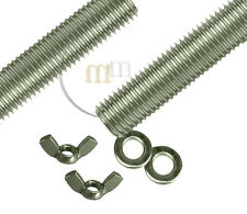 Threaded Bar A4 Marine STAINLESS STEEL Threaded Steel Bar WING NUTS & WASHERS