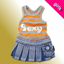Brand New Sexy Orange Singlet with Jean Skirt Costume for Dog Cat Puppy