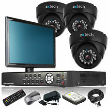 3 x Day Night Camera Full D1 4 CH DVR CCTV Package Live Viewing with Monitor UK