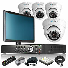 4 x Outdoor Colour Camera Full D1 4 CH DVR CCTV Package DIY Complete Monitor UK