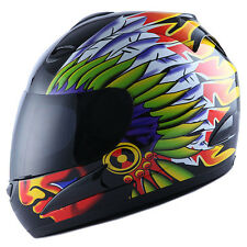 NEW Motorcycle Street Bike Full Face Helmet Indian Chief Black S M L XL