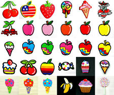Choice Fruit Apple Cherry Candy IceCream Iron On Patch Embroidered Sew Craft Kid
