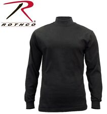 SECURITY & POLICE Black Cotton Long Sleeve Mock Turtleneck Shirt 3406