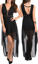 Ladies Black High Low Evening Club Party Prom Dress Size 8 S 10 M 12 L NEW