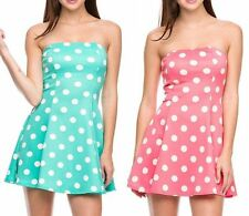 Sexy Cocktail Polka Dot Printed Flare A-Line Strapless Bustier Tube Mini Dress