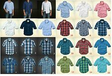New Hollister by Abercrombie Men Oxford Flannel Plain Plaid Shirts Muslce Sizes