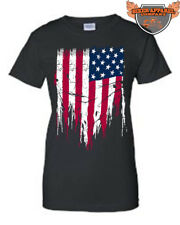 JUNIORS T-SHIRT DISTRESS RIPPED USA FLAG WHITE RED AND BLUE PRIDE AMERICAN S-2XL