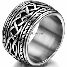 14.3mm Silver Stainless Steel Eternity Knot Thumb Ring Punk Biker Mens Gifts