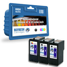 REMANUFACTURED LEXMARK BLACK #3 & COLOUR #2 INK -3 CARTRIDGE EVERYDAY VALUE PACK