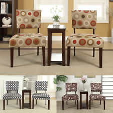 Classic 3 Piece Fabric Padded Seat Espresso Wood End Accent Side Table Chair Set