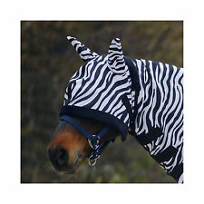 NEW Zebra Print Fleece Edged Buzz-Off Eye/Ears Protection Adjustable Fly Mask