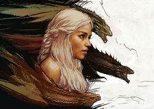 Game of Thrones, Daenerys Targaryen with dragons Artwork Poster, various sizes
